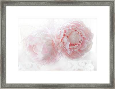 Dreamy Shabby Chic Baby Pink White Pastel Peonies - Romantic Baby Pink Peonies Decor Framed Print by Kathy Fornal