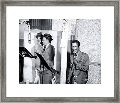 Dean Martin, Frank Sinatra And Sammy Davis Jr. At Capitol Records Studios Framed Print by The Titanic Project