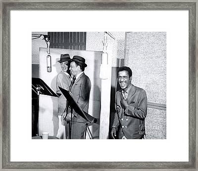 Dean Martin, Frank Sinatra And Sammy Davis Jr. At Capitol Records Studios Framed Print