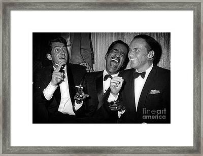 Dean Martin, Sammy Davis Jr. And Frank Sinatra Laughing Framed Print