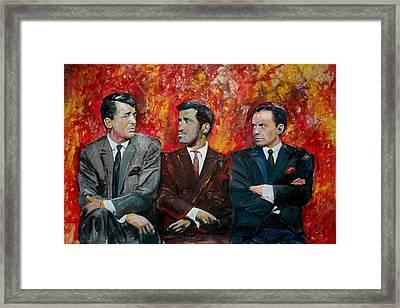 Dean, Sammy And Frank Framed Print