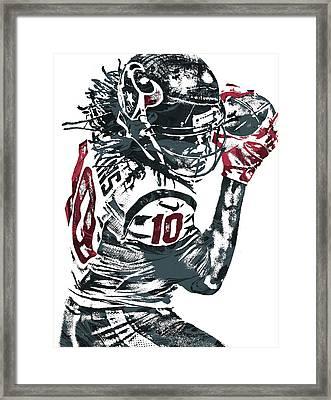 Framed Print featuring the mixed media Deandre Hopkins Houston Texans Pixel Art by Joe Hamilton