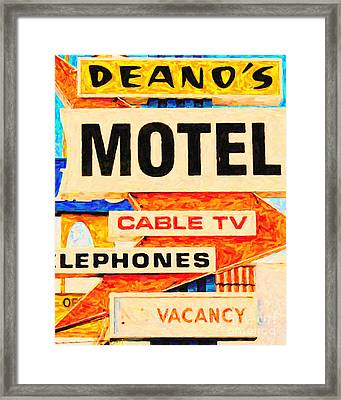 Deanos Motel Framed Print by Wingsdomain Art and Photography