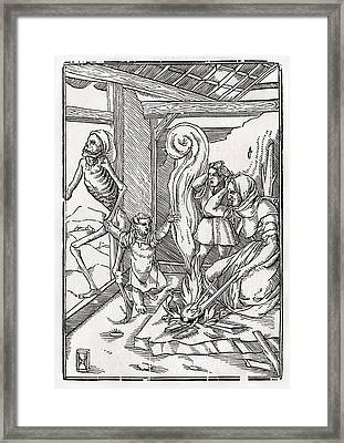 Death Comes For The Child After Hans Framed Print by Vintage Design Pics