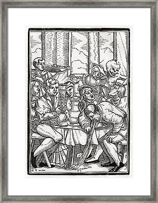 Death Comes For The Drunkard Woodcut By Framed Print by Vintage Design Pics