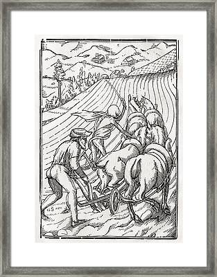 Death Comes For The Farmer Or Framed Print by Vintage Design Pics