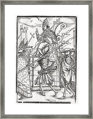 Death Comes For The Pope From Der Framed Print