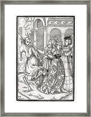 Death Comes For The Queen Woodcut By Framed Print