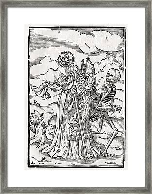 Death Comes To The Bishop Woodcut By Framed Print by Vintage Design Pics