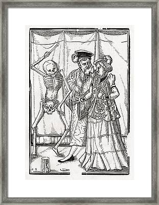 Death Comes To The Duchess Woodcut By Framed Print by Vintage Design Pics