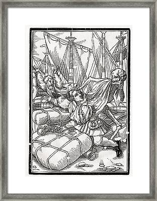 Death Comes To The Merchant Woodcut By Framed Print by Vintage Design Pics