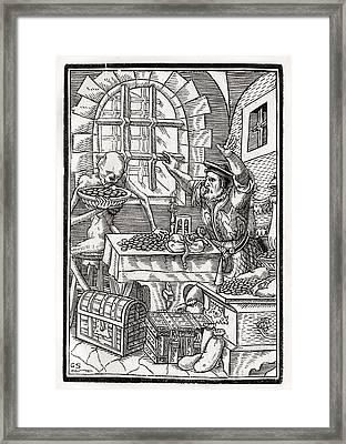 Death Comes To The Miser Or Usurer Framed Print