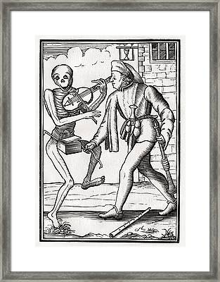 Death Comes To The Musician From Der Framed Print