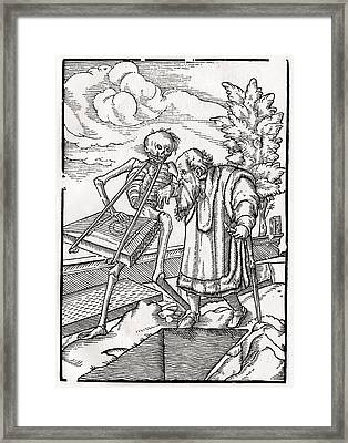 Death Comes To The Old Man Or The Framed Print by Vintage Design Pics