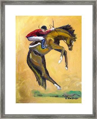 Death Defying Ride Framed Print by Olga Kaczmar