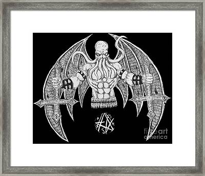 Death Metal Cthulhu Raw Version Framed Print by Alaric Barca