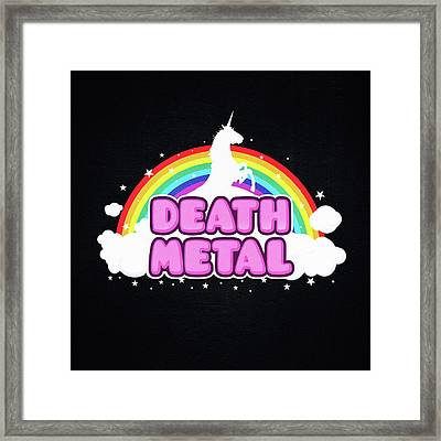 Death Metal Funny Unicorn  Rainbow Mosh Parody Design Framed Print