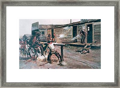 Death Of A Gambler Framed Print by Charles Marion Russell