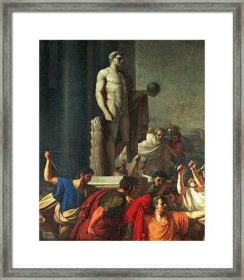 Death Of Caesar, March 15, 44 Bc Framed Print by Vincenzo Camuccini