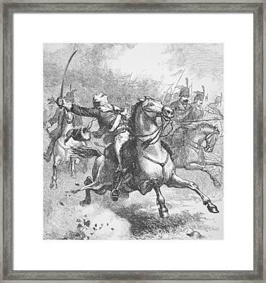 Death Of Count Casimir Pulaski Framed Print by American School