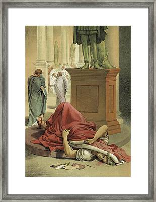 Death Of Julius Caesar, Rome, 44 Bc  Framed Print by Spanish School