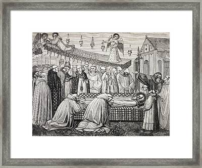 Death Of Saint Benedict Of Nursia Or Framed Print by Vintage Design Pics