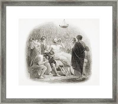 Death Of Socrates, 469 - 399 B.c Framed Print by Vintage Design Pics