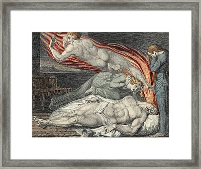 Death Of The Strong Wicked Man Framed Print by Sir William Blake
