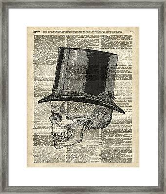 Death Skull With Victorian Hat Framed Print