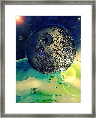 Death Star Illustration  Framed Print
