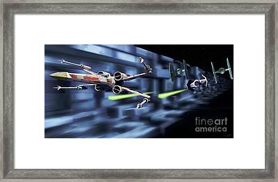 Death Star Trench Battle  Framed Print