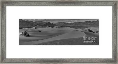 Death Valley Dunes Black And White Panorama Framed Print by Adam Jewell