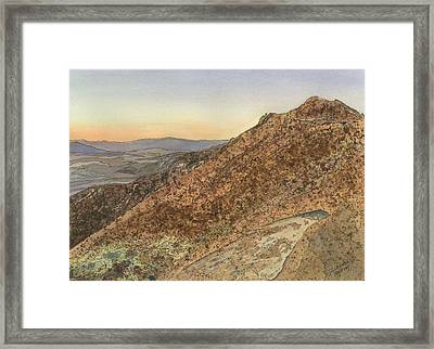 Framed Print featuring the painting Death Valley From Dante's View  A November Sunset by Joel Deutsch