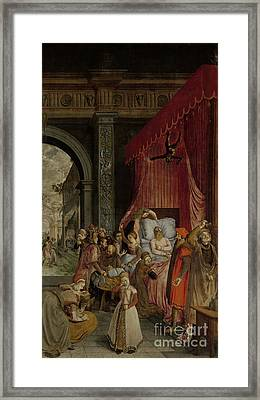Deathbed Of The Rich Man Framed Print by Celestial Images