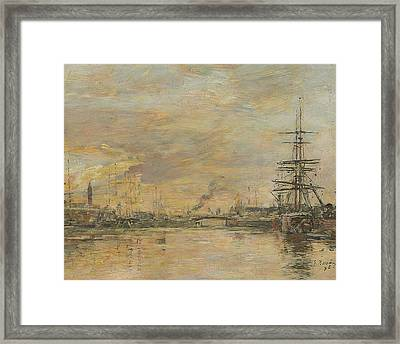 Deauville, The Basin Framed Print by Eugene Boudin