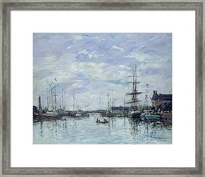Deauville The Dock Framed Print by Eugene Louis Boudin