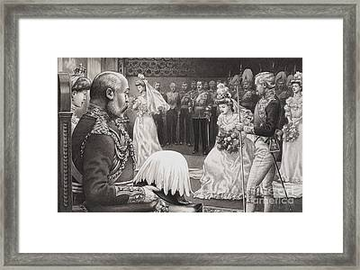Debutantes Being Presented To Edward Vii And Queen Alexandra Framed Print