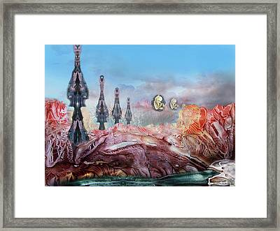 Decalcomaniac Transmission Towers Framed Print by Otto Rapp