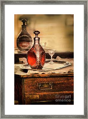 Framed Print featuring the photograph Decanter And Glass by Jill Battaglia
