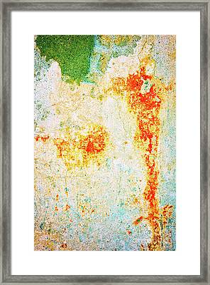 Framed Print featuring the photograph Decayed Wall With Orange Paint by Silvia Ganora