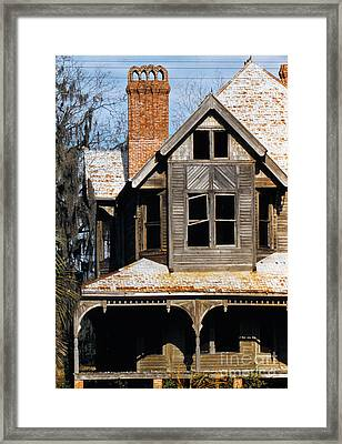 Decaying Victorian House In Florida, Photographed In 1955 Framed Print by The Harrington Collection
