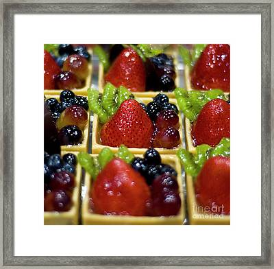 Decedent Berry And Kiwi Cups Framed Print
