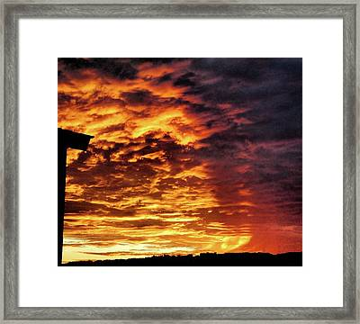 Framed Print featuring the painting December Austin Sunset  by Layne William LoMaglio
