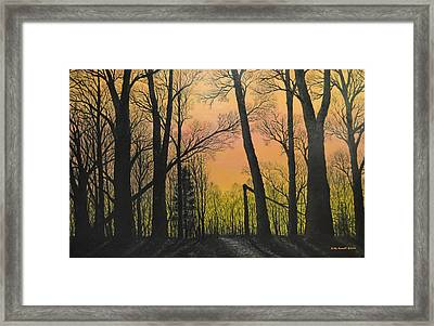 Framed Print featuring the painting December Dusk - Northern Hardwoods by Kathleen McDermott