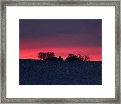 December Farm Sunset Framed Print by Kathy M Krause