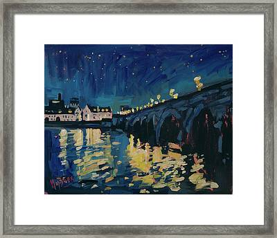 December Lights At The Old Bridge Framed Print by Nop Briex