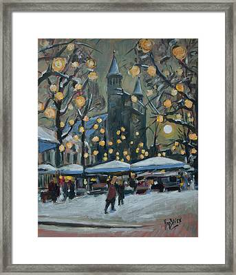 December Lights At The Our Lady Square Maastricht 2 Framed Print by Nop Briex