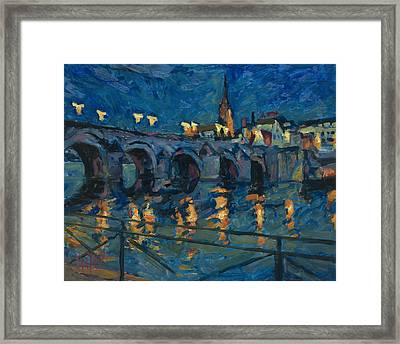 December Lights Old Bridge Maastricht Framed Print