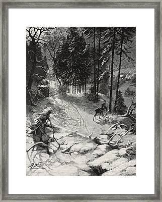 December Night Snow Covered Wood Framed Print