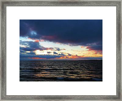 December Sunset, Wolfe Island, Ca. View From Tibbetts Point Lighthouse Framed Print